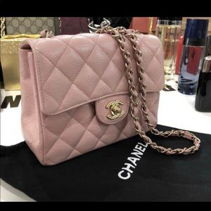 Chanel pink classic mini flap caviar